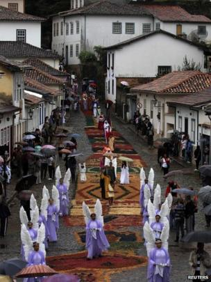 Easter Sunday procession in the historic Brazilian city of Ouro Preto