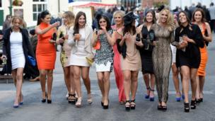 Women arriving at Aintree