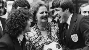 Kevin Keegan and Emlyn Hughes share a joke with Margret Thatcher outside 10 Downing Street.