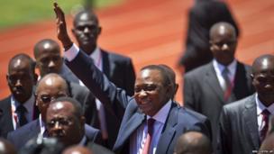 Kenya's Uhuru Kenyatta arrives for his presidential inauguration at Kasarani, near Nairobi in Kenya