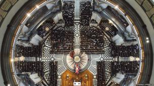 An overhead view of the service