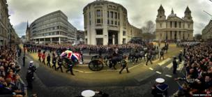 The funeral procession for Baroness Thatcher passes along Ludgate Hill (Multiple exposure)