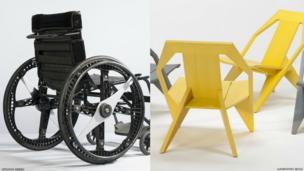 A folding wheelchair next to a yellow wooden chair.