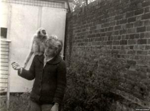 Patience Cole pictured with a gibbon in September 1963