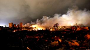 The burning remains of the plant in West
