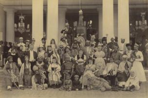 Sir Asman Jah and Fancy Dress Ball Guests, Bashir Bagh Palace, February 1890