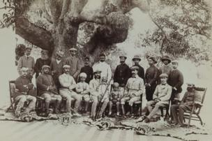 The Nizam Mahbub Ali Khan and Party Posed with Tiger Skins at Shikar Camp, April–May 1899