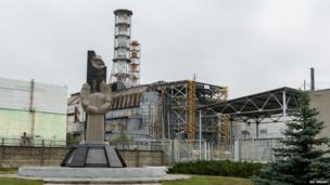 Damaged reactor four at Chernobyl
