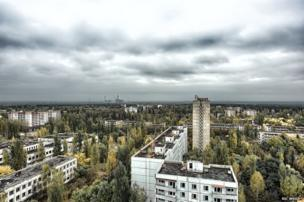 View from one of the highest rooftops in Pripyat