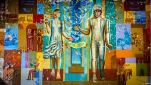 A mural in the Post Office in Pripyat
