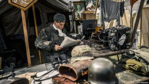 WWII re-enactment radio operator