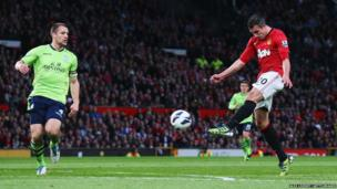 Robin van Persie of Manchester United scores his team's second goal during the Barclays Premier League match against Aston Villa