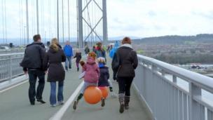 People on the Forth Road Bridge