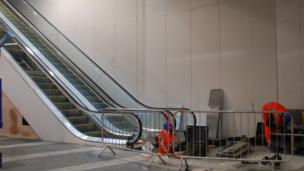 An escalator in the new concourse of Birmingham New Street station