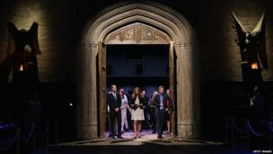 William, Kate and Harry enter Hogwart's Great Hall during Warner Bros studio tour
