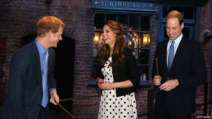Harry, Kate and William laughing on a trip down Diagon Alley