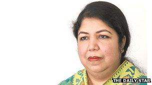 Image caption Shirin Sharmin Chowdhury has close links with the governing Awami League party - _67326213_67326212
