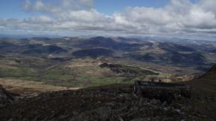 The view from the trig point at Cadair Idris in Snowdonia