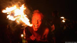 Beltane Fire Society performers celebrate the coming of summer by participating in the Beltane Fire Festival