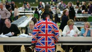 Member of the Official Monster Raving Loony Party attend the count