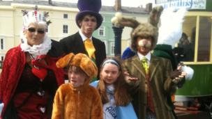 Participants in Alice in Wonderland fancy dress, 3 May 2013