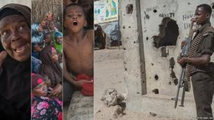 Photos of displaced Somali people living in camps in Mogadishu and a guard on duty at one of the camps