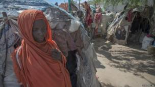 Arif displacement camp in Mogadishu, Somalia