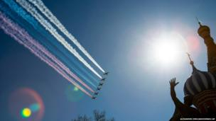 Russian jets fly over Red Square