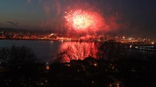Fireworks in Cardiff Bay