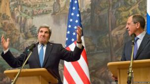 US Secretary of State John Kerry (left) and Russian Foreign Minister Sergey Lavrov during a joint press conference after their meeting in Moscow, Russia