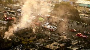Aerial view of crash tanker explosion in Mexico City,