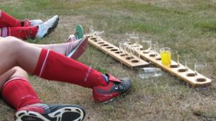 Football players legs