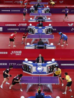 Players at the World Table Tennis Championships in Paris (14 May 2013)