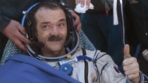 Canadian astronaut Chris Hadfield after landing in Kazakhstan (14 May 2013)