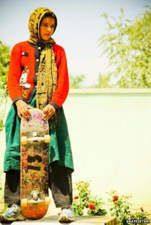 Girl with a skateboard