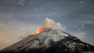 A cloud of ash belches out of Mexico's Popocatepetl volcano