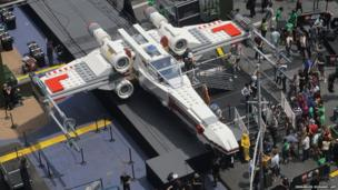 Lego X-Wing on show in Times Square