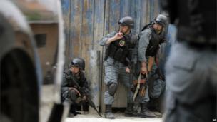 Afghan policemen, Kabul, 24 May 2013
