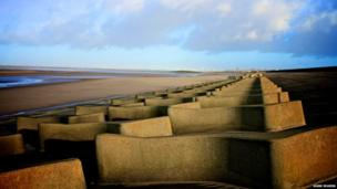 The sea defence wall at Leasowe, Wirral