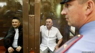 Defendants Rustam Makhmudov and Lom-Ali Gaitukayev during a court hearing Moscow.