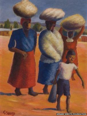 Women and Child, Eastwood, Pretoria 1946, oil on canvass, Private Collection