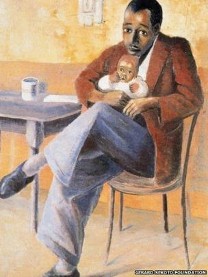 The Proud Father c. 1946-7, oil on canvas board, Private Collection