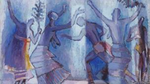 Dancing Figures, Casamance, Senegal c. 1968, oil on canvas, Private Collection