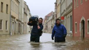 Flooded street in Pirna, Germany, on 4 June 2013
