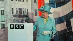 The Queen leaving Broadcasting House