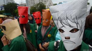 Indonesian students protest outside the presidential palace in Jakarta