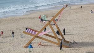 A giant deckchair on Bournemouth beach