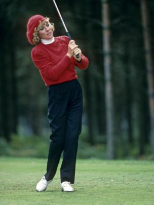 Australian Jan Stephenson plays from the fairway at the Women's British Open Championship at Woburn