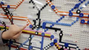 Close up of Tube map made from Lego