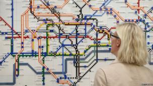 Tube map made of Lego